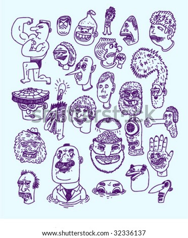 Ink Heads #2 - Doodles - Vectors