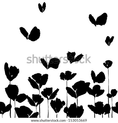 Ink illustration of flowers and butterflies