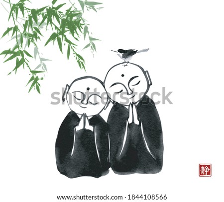 ink painting of  two praying
