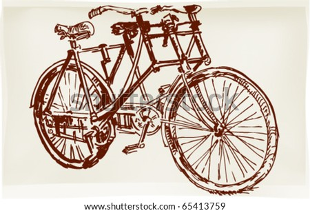 Ink pen drawing depicting a retro dual-bike
