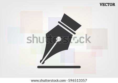 Ink Pen icon vector EPS 10, abstract signs  flat design,  illustration modern isolated badge for website or app - stock info graphics.