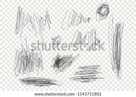 Ink pen scrawls vector illustrations set. Chaotic black scribbles, messy thin line drawings pack. Monochrome freehand sketches isolated on transparent backdrop. Sloppy pencil strokes collection Stock photo ©