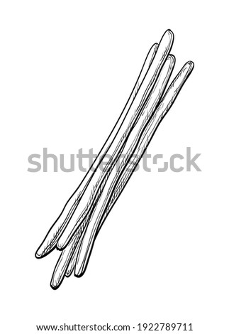 ink sketch of bread sticks