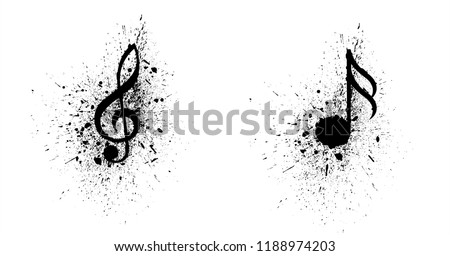 Ink splash splatter music notes Vector party loading musical symbol note background icon Collection of music notes symbols songs art seamless pattern fun funny staff draw Hearing eurovision logo