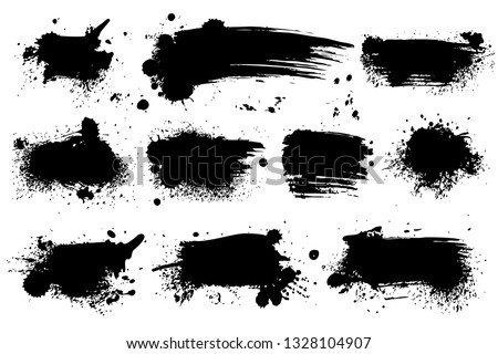 Ink splashes. Black inked splatter dirt stain splattered spray splash with drops blots isolated vector grunge silhouette set