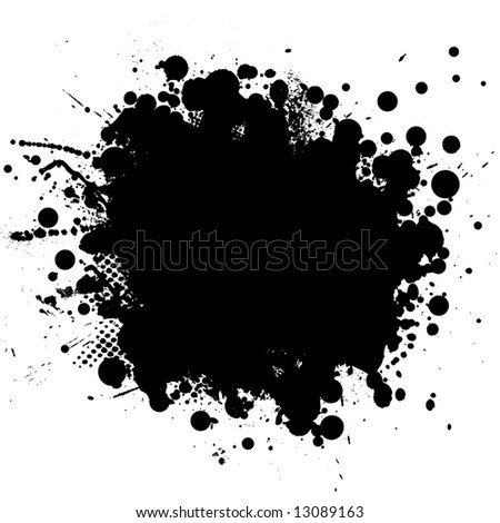 Ink splat in black with half tone pattern