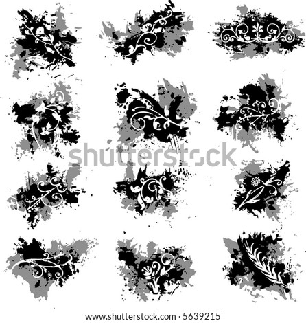 ink splats with floral design elements - vector illustration - fully scalable