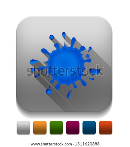 ink splatter icon With long shadow over app button