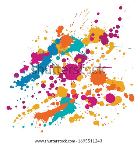 Ink stains grunge background vector. Cool ink splatter, spray blots, dirt spot elements, wall graffiti. Watercolor paint splashes pattern, smear liquid stains splatter background.