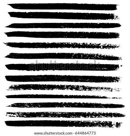 Ink vector brush strokes set. Vector illustration. Grunge hand drawn watercolor texture. #644864773