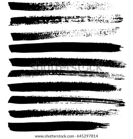 Ink vector brush strokes set. Vector illustration. Grunge hand drawn watercolor texture. #645297814