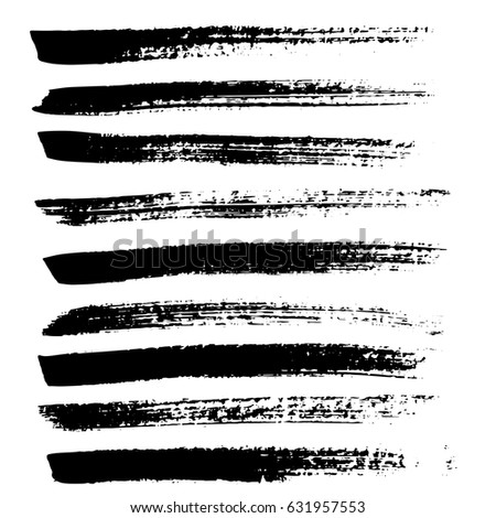 Ink vector brush strokes. Vector illustration. Grunge hand drawn watercolor texture. #631957553