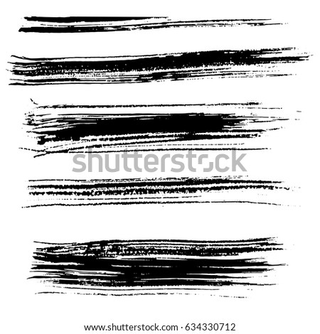 Ink vector brush strokes. Vector illustration. Grunge hand drawn watercolor texture. #634330712