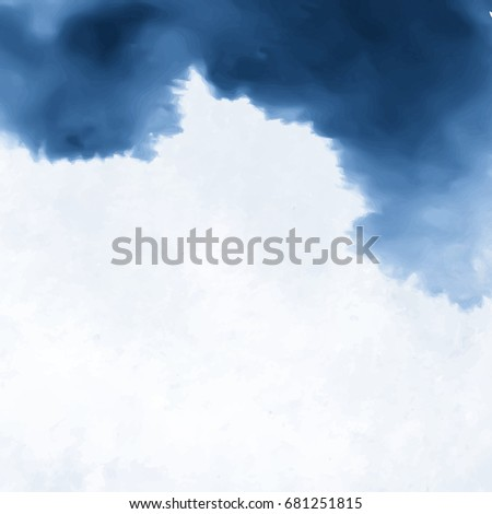 Ink wash painting on white background. Asian style sky and cloud vector illustration.