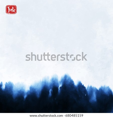 Ink wash painting on white background. Asian style vector illustration.