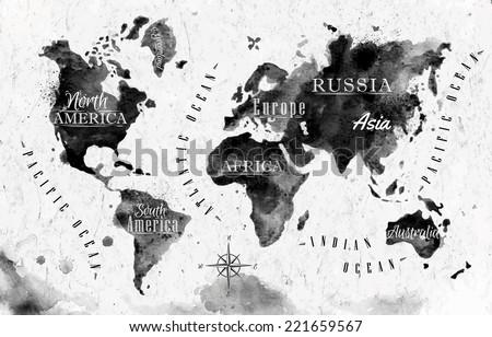 Vector del mapa del mundo del esquema blanco descargue grficos y ink world map in vector format black and white graphics in vintage style gumiabroncs Gallery