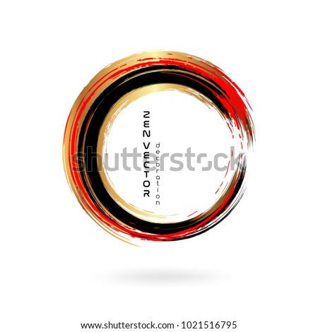 Ink zen circle emblem. Hand drawn abstract decoration element. Black, gold and red Stock foto ©