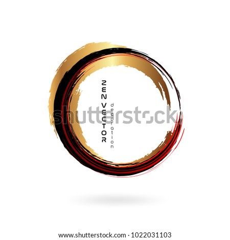 Ink zen circle emblem. Hand drawn abstract decoration element. Black, gold and red colors Stock foto ©