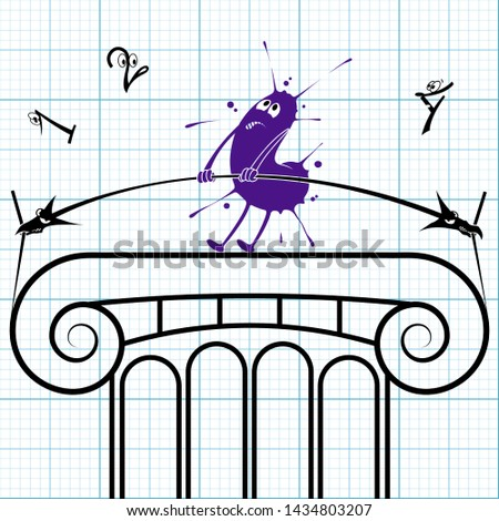 Inkblot-character is on a fragment of the Greek column blueprint. He tries to pull dimension line out like a weightlifter doing clean and jerk.