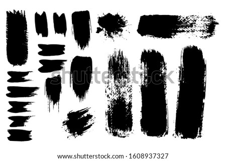 Inked Vector Paint Brush Strokes Set. Big Collection of Black Silhouettes, Paintbrushes, Hand-made Acrylic Wet and Dry Paint Splatters and Blot Waves, Grunge Smear and Dynamic Textured Splotches