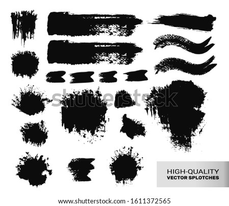 Inked Vector Paint Brush Strokes Set. Big Collection of Black Silhouettes, Paintbrushes, Hand-made Acrylic Wet Blot and Dry Paint Splatters and Waves, Grunge Smear and Dynamic Textured Splotches