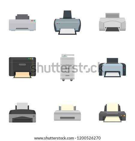 Inkjet printer icon set. Flat set of 9 inkjet printer vector icons for web design