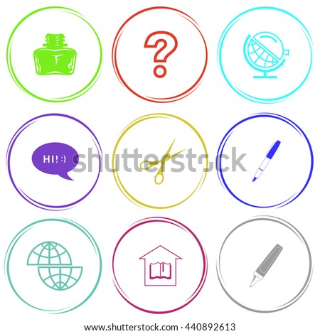 inkstand, query sign, globe and loupe, chat symbol, scissors, ink pen, shift globe, library, felt pen. Education set. Internet button. Vector icons.