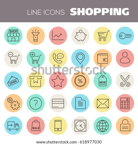 Inline Shopping Icons Collection #618977030