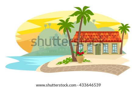 Inn By The Beach - Spanish style inn with palm trees, brick road and silhouette of a town in the background. Eps10