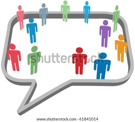 Inner circle business people talk inside a social media network speech bubble
