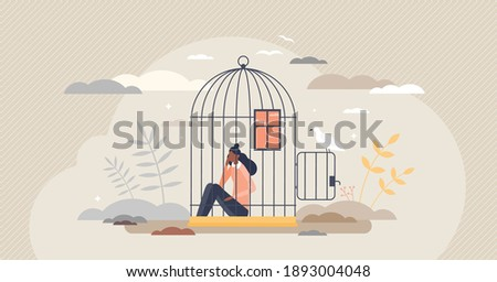 Inner prison as mental state with thought stuck and block tiny person concept. Psychological mindset as feeling like trapped in birdcage vector illustration. Helpless problem and despair situation. Foto stock ©