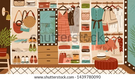 Inner space of closet or wardrobe. Female clothes or apparel hanging on hanger, garment rack or rail and lying on shelves. Clothing organization or storage. Flat cartoon colorful vector illustration.