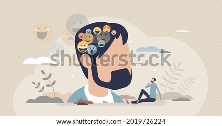 Inner voice as different emotion and feeling reflections tiny person concept. Internal voice arguing with various opinions as mental frustration and psychological thoughts problems vector illustration