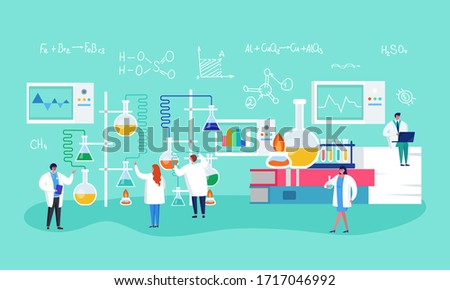 Innovate laboratory research, vaccine formulation vector illustration. Medical scientists conducting chemical experiment creating medicine. Cones with reagents, liquid, connecting tubes.