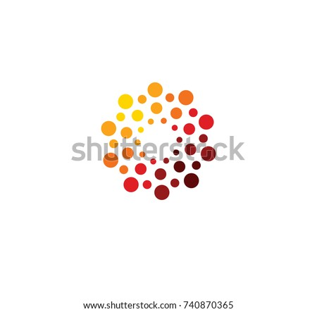 Innovation abstract unusual isolated vector round logo template from circles on white background. Red color shape, connection technology concept.Shine sun, chemical structure sign. Globe medical mind.