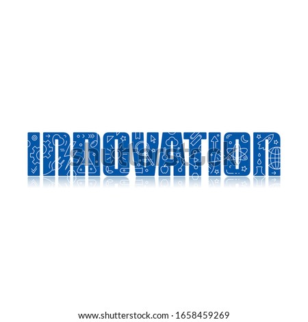 innovation and innovation symbols. innovation logo. symbols on the word innovation