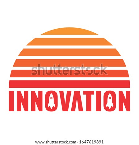 innovation and rocket concept. semicircle and innovation word