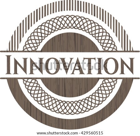 Innovation badge with wood background