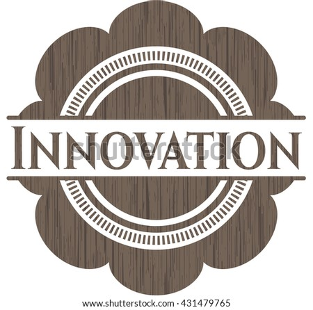 Innovation badge with wooden background