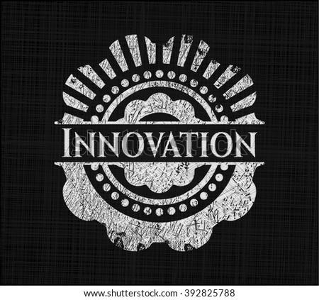 Innovation chalk emblem, retro style, chalk or chalkboard texture
