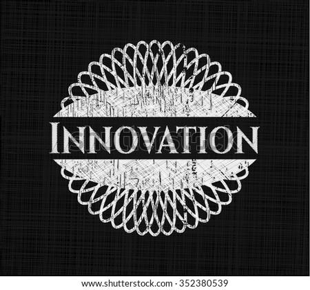 Innovation chalk emblem written on a blackboard