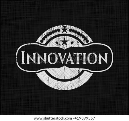 Innovation chalkboard emblem on black board
