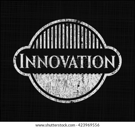 Innovation chalkboard emblem written on a blackboard