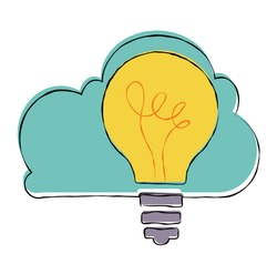 Innovation concept. Light bulb with cloud.