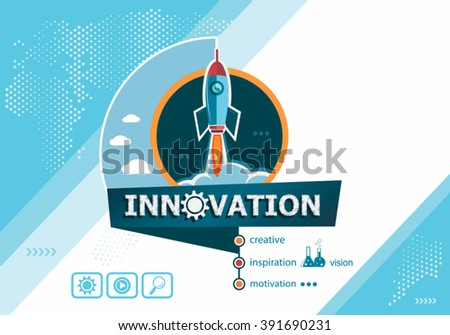 Innovation design concepts for business analysis, planning, consulting, team work, project management. Innovation concept on background with rocket.