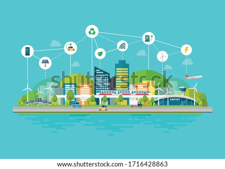 Innovation eco friendly cityscape with Infrastructure and Transportation. Smart city concept Vector illustration