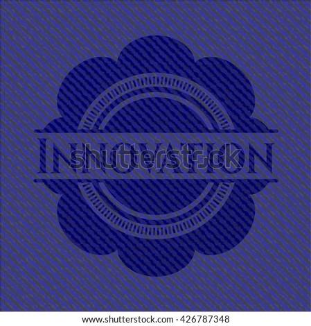 Innovation emblem with denim texture