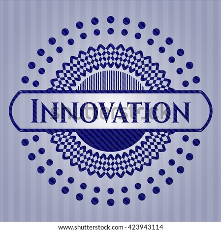 Innovation emblem with jean background