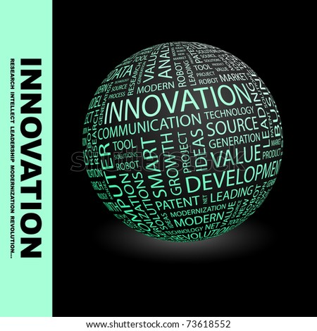 INNOVATION. Globe with different association terms. Wordcloud vector illustration.