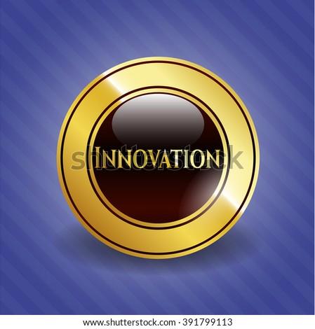 Innovation golden emblem or badge